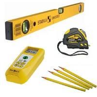 простой карандаш, измерительная рулетка и уровень